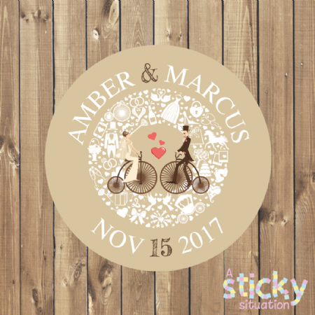 Personalised Wedding Favour Stickers - Elegant Penny Farthing Design